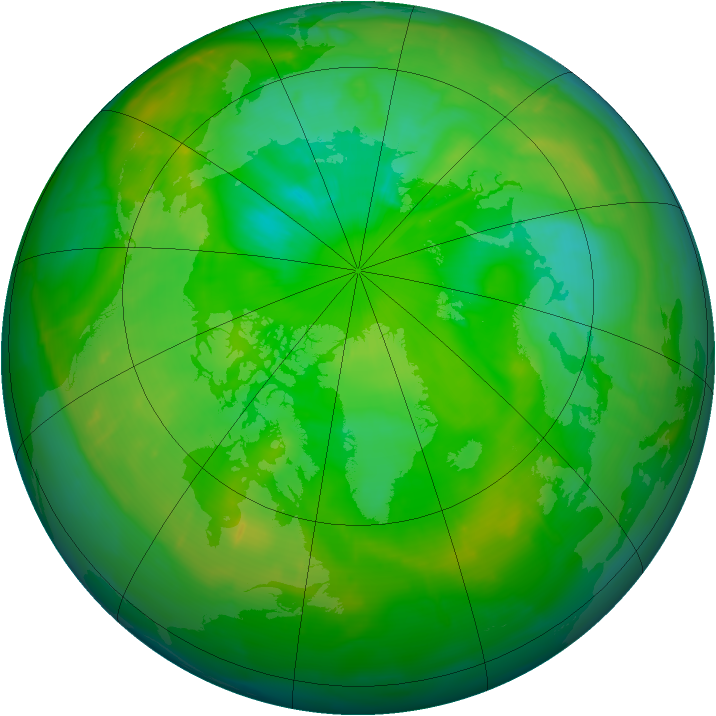Arctic ozone map for 19 July 2010